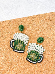 Beaded Beer Dangle Earrings