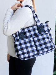 Puffer Messenger Bag - White/Black Buffalo Check