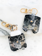 Hand Sanitizer & Air Pod Case Key Chain - Black Snakeskin