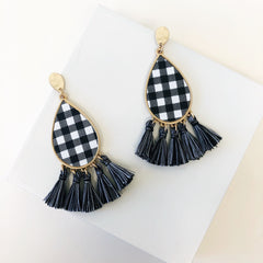 North Plaid Dangle Tassel Earrings - White/Black