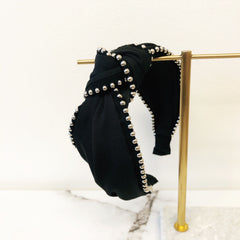Black Knotted Stud Headband
