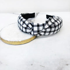 Buffalo Check Knotted Headband - Black/White
