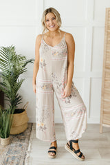 Boho Taupe Floral Jumpsuit - 3/4