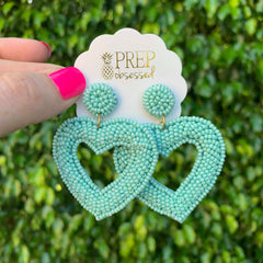 Brittany Beaded Heart Dangles - Mint
