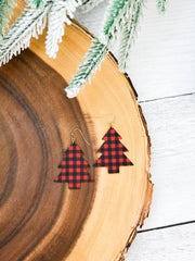 Buffalo Check Plaid Tree Dangle Earrings - Red/Black