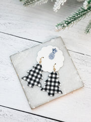 Buffalo Check Plaid Tree Dangle Earrings - White/Black