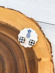 Buffalo Check Stud Earrings - White & Black
