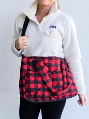 Puffer Messenger Bag - Red/Black Buffalo Check