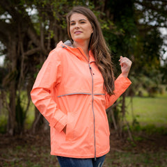 New Englander Rain Jacket by Charles River Apparel  - Bright Coral