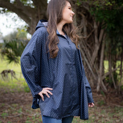 One Size Women's Pack-N-Go Poncho in Navy Polka Dot by Charles River Apparel (Ships in 1-2 Weeks)