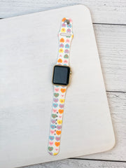 Candy Hearts Printed Silicone Smart Watch Band - S/M