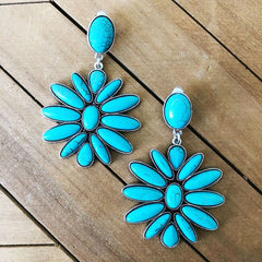Cayenne Turquoise Statement Clip On Earrings