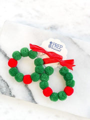 Christmas Pom Pom Wreath Statement Earrings