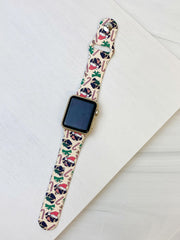 Holiday Pug Printed Silicone Smart Watch Band