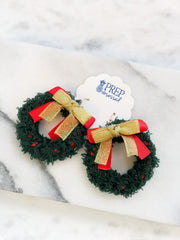 Christmas Bow Wreath Statement Earrings