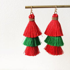 Christmas Triple Layered Tassel Dangle Earrings