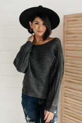 Cozy and Chic Dressed Sweater in Charcoal - 1/26