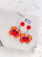 Crab Seed Bead Statement Earrings