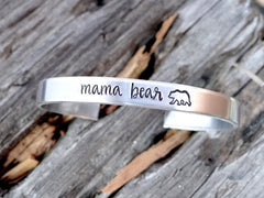 'Mama Bear' Hand Stamped Cuff Bracelet (1-2 Week Production Time)