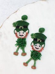 Dancing Leprechaun Beaded Dangle Earrings