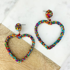 Dark Multi Beaded Heart Dangle Earrings