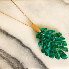 Delilah Palm Acrylic Necklace - Green