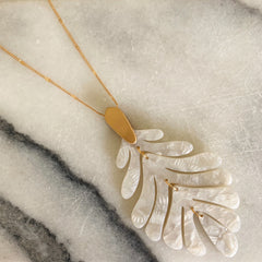 Delilah Palm Acrylic Necklace - Ivory