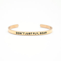 'Don't Just Fly, Soar' Cuff Bracelet by Lillian & Co.