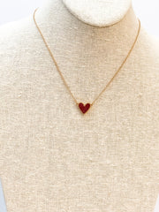 Druzy Heart Pendant Necklace - Red