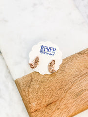 Druzy Mermaid Stud Earrings - Rose Gold