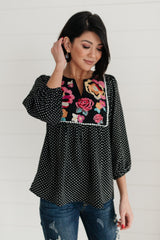 Embroidery and Dots Blouse in Black - 1/26