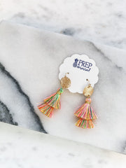 Eryn Tassel Dangle Earrings - Multi Neon