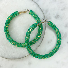 Etta Glitter Hoop Earrings - Kelly Green