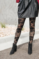 Fanciful Floral Leggings In Black (Ships in 1-2 Weeks)