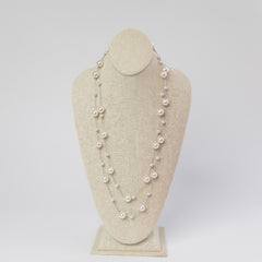 Final Sale: Daphne Long Pearl Station Necklace - 2 Colors Available