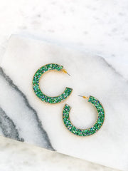 Festive Glitter Hoop Earrings - Green