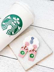Flamingo Frappe Pink Coffee Beaded Dangles