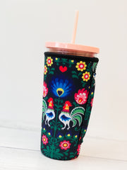 Insulated Cold Cup Sleeve with Handle - Floral Rooster