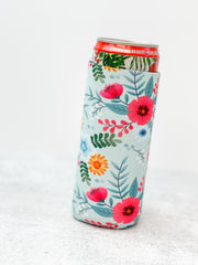 Floral Printed Slim Can Drink Hugger