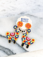 Beaded Flower Llama Dangle Earrings - Multi