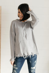 Frayed Edges Hoodie in Grey - 1/26