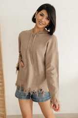 Frayed Edges Hoodie in Taupe - 1/26