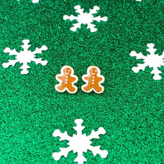 Frosted Gingerbread Man Signature Enamel Stud Holiday Christmas Earrings