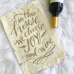 'Joy and Wine' Kitchen Towel by PBK