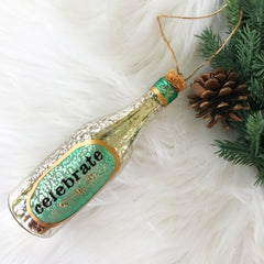 'Celebrate' Champagne Bottle Ornament by PBK