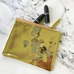 Mirrored Gold Makeup Pouch by Slant