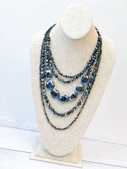 Gemma Beaded Glass Statement Necklace - Dark Blue Multi