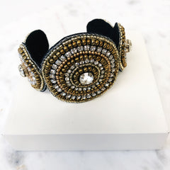 Gianna Gold and Black Beaded Cuff Bracelet