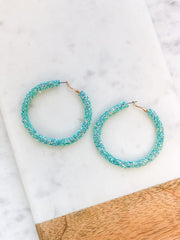 Etta Glitter Hoop Earrings - Mint