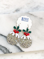 Glitter Sugar Plum Jingle Statement Earrings